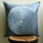 "Ribbon Art Work 16""x16"" Art Silk Grey Decorative Pillows Cover - Vintage Adorned"