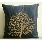 "Black Art Silk 16""x16"" Beaded Tree Pillow Cover - Celebrated Tree"