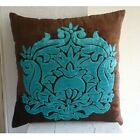 "Damask Brown Pillow Cases, Velvet 16""x16"" Throw Pillow Cover - Applique Damask"