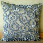 "Ribbon Scroll Grey Throw Pillow Covers, Art Silk 16""x16"" Pillows Cover - Sizzle"
