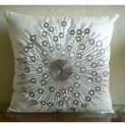 Medallion Ivory Pillows Cover, Art Silk 16x16 Throw Pillow Covers - Silver Moons