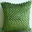 "Textured Green Faux Suede 16""x16"" Throw Pillows Cover - Go Green"