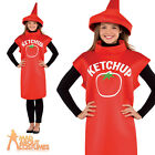 Adult Tomato Sauce Bottle Costume Ketchup Unisex Food and Drink Fancy Dress New
