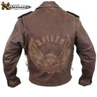 Distressed Brown Mayhem Cowhide Speedster Leather Motorcycle Biker Jacket M $229