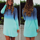 Fashion Ladies Autumn Winter Long Sleeve Casual Loose Gradient Color Mini Dress