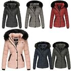 Marikoo Damen Winter Steppjacke Unique warme Winterjacke 80002 Kunstpelz Parka