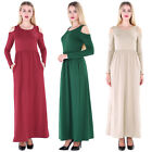 Women Sexy Cold Shoulder Long Sleeve Bodycon Evening Party Casual Club Dress