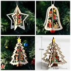 3D Xmas Tree Pendants Hanging Wooden Christmas Decoration Home Party Decorations