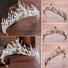Bridal Silver Plated Crystal Faux Pearl Beads Wedding Crown Hair Accessories BE