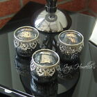 VINTAGE LACE Dark Silver TEA LIGHT CANDLE HOLDER Glass Ornaments SHUDEHILL