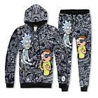 Black Rick and Morty Print Sweatshirt Hoodies Men Hip-Hop Jogger Pants tracksuit