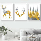 SET of 3 grey & yellow GEOMETRIC Stag Deer Forest Wall Art Picture Print Poster