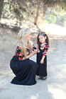 Mother Daughter Matching Clothes Floral Mom Kids Parent Long Dress Outfits Set