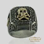 Memento Mori Masonic Knights Templar Ring 14K Gold Silver Skull Biker UNIQABLE