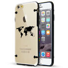 For Apple iPhone SE 5s 6 6s 7 8 Plus Slim Clear TPU Hard Case Cover World Map