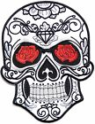 """9.75"""" Sugar Skull Rose Embroidered Patch Iron on Polo T shirt Jacket Costume"""