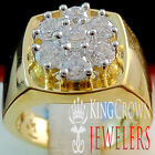 Mens Real 14K Yellow Gold Sterling Silver Simu Diamond Wedding Engagement Ring