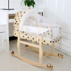 Infant Safe Mattress Bassinet Cradle Gentle Rocking Mesh Windows with wheel