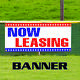 Now Leasing For Rent Office Retail Space Apartment Advertising Vinyl Banner Sign photo