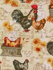 Roosters, Chickens and Farm Fresh Eggs Vinyl Flannel Back Tablecloth-Var. Sizes
