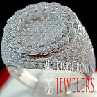 10K White Gold Silver Lollipop Domed Round Simu Diamond Pinky Ring Mens Band