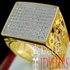 10K Yellow Gold Over Sterling Silver Round Cut Simu Diamond Mens Pinky Ring Band