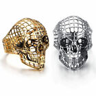 Fashion Mesh Gold Silver Stainless Steel Skull Hollow Out Ring Jewelry Pink gift