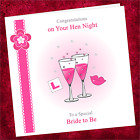 Personalised Handmade Hen Night Card NN001 / Bride Party Do Lips Glasses Pink