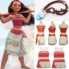 Kids Costume Movie Moana Princess Girls Cosplay Fancy Dress Necklace Outfits Set