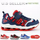 Kids Boy Athletic Sneakers Shoes Walking Running Tennis Mesh Upper Strap Lace-Up