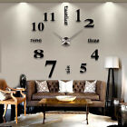 DIY Analog 3D Mirror Surface Large Number Wall-Clock Sticker Modern Home Decor