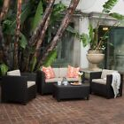 Wicker Outdoor Furniture Set 4 pc Patio Dining Sofa Cushion Couch Chair Lawn