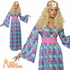 Ladies 1960s Hippie Fancy Dress Costume Flower Child Maxi Dress Womens Outfit
