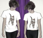 Gray Tabby Cat Unisex Cotton T-Shirt Youth & Adult Sizes S M L XL