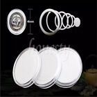 10Pcs Round Case Coin Capsule Container Box Storage Holder With Inner Pad New