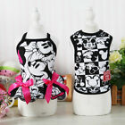Внешний вид - Black Cartoon Couple Dog Clothing Small Pet Shirt Dress Vest Puppy Apparel Skirt