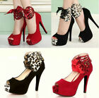 Sexy Womens Leopard High Heels Platform Pumps Stiletto Peep Toe Sandal Shoes