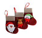 3 x Small Jute Christmas Stocking Filler Santa Snowman Reindeer Sacks Xmas gift