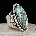 Vintage 925 Silver Turquoise Gem Ring Anniversary Gift Women Men Band Jewelry