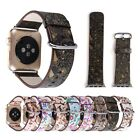 New Floral Genuine Leather Wrist Strap Watch Band For Apple Watch 38mm 42mm