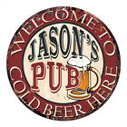 CPMP-0024 COLD BEER HERE JASON'S PUB Chic Tin Sign Man Cave Decor Gift
