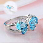 Charming Cubic Zircon Silver Plated Rings Women Ladies Wedding Butterfly Jewelry