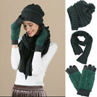 Women Winter Warm Cable Knit Gloves Scarf Beanie Sets Soild Color Christmas Gift