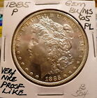 1885-P MORGAN SLIVER DOLLAR GEM BU/MS MEDIUM MIRROR PROOF-LIKE, NICE+ SHARP B504