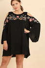 Umgee Plus Size Black Cold Shoulder Embroidered Tunic Top Dress