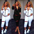 2pcs Fashion Long Sleeve Stripe Bodycon Jumpsuit Rompers Playsuit Casual Women