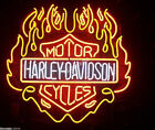 24 Rare HD Harly Davidson Fire Flame Motorcycle Bike Real Glass Neon Light Sign