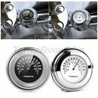 "Motorcycle 7/8"" 1"" Handlebar Black Chrome Dial Clock Thermometer Temp Gauge"