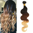 """150g 10""""-22"""" Brazilian Ombre 100% Human Hair Extension Body Wave Hair Weft 1b/27"""