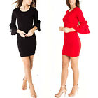 Womens Ladies Bow Double Frill Sleeves Scoop Neck Stretchy Bodycon Mini Dress